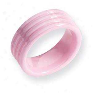 Ceramic Ponk Grooved 8mm Polished Band Ring - Size 7