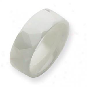 Ceramic White 8mm Polished Band Ring - Sizs 8