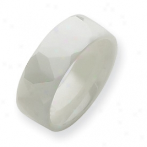 Ceramic White 8mm Polished Band Ring - Size 9