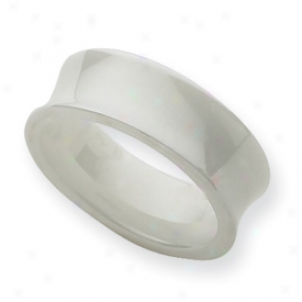 Ceramic White Concave 8mm Polished Band Ring - Size 7