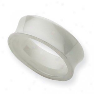 Ceramic White Concave 8mm Polished Band Ring - Size 8.5