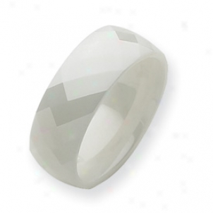 Ceramic White Faceted 8mm Polishde Band Rlng - Size 5.5