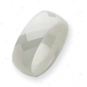 Ceramic White Faceted 8mk Polished Band Ring - Size 8