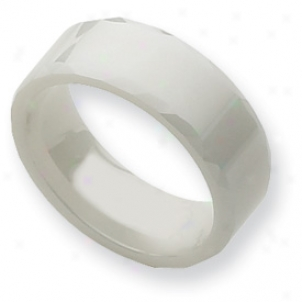Ceramic White Faceted Edge 8mm Polished Band Ring - Size 5.5