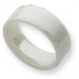 Ceramic White Faceted Edge 8mm Polished Band Ring - Size 8.5
