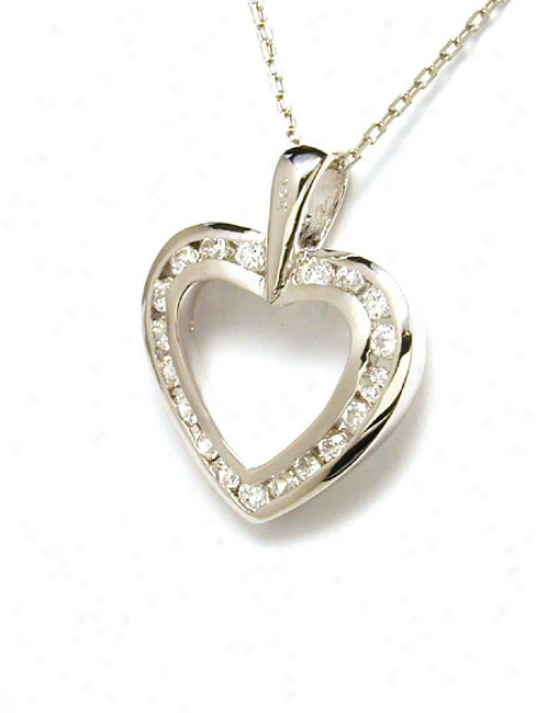 Channel-set Cubic Zirconia Cz Open Heart Pendant