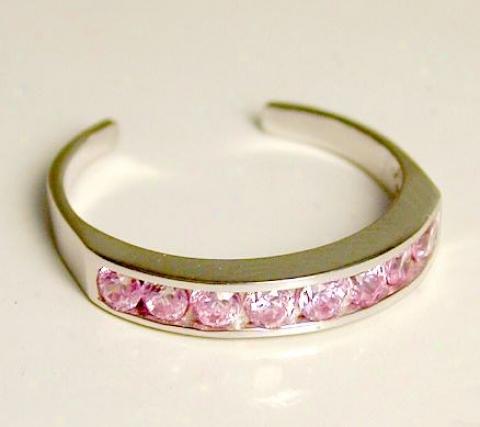 Channel-set Pink Cubic Zirconia Cz Eternity Toe Ring