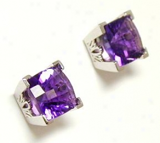 Checkerboard Amethyst Earrings