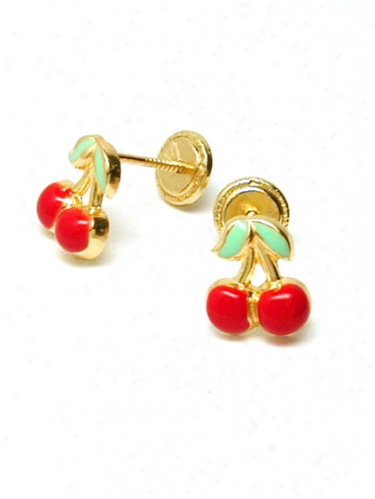 Cherry Enamel Childrens Screwback Earrrings