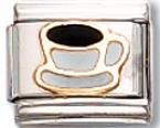 Coffee Cup Italian Charm Link