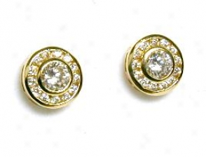 Cubic Zirconia Cz Bezel Round Earrings