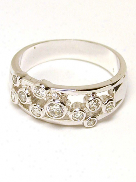 Cubic Zirconia Cz Bubble Round Ring