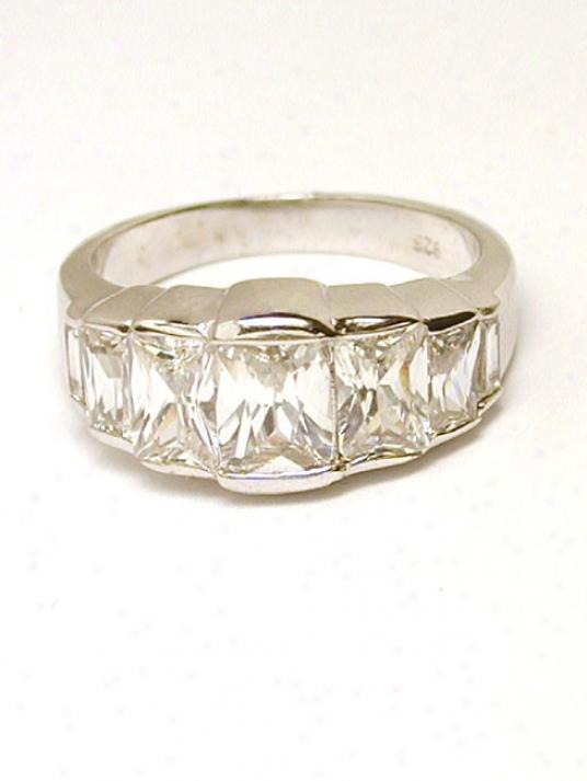 Cubic Zirconia Cz Emerald Cut Bezel Ring - Size 9.0