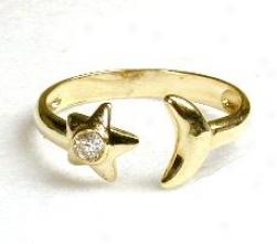 Cubic Zirconia Cz Moon & Stra Toe Ring