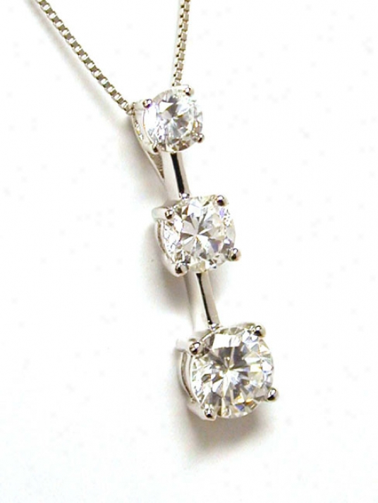 Cubic Zirconia Cz Round Present Psst And Future Pendant