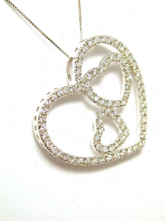 Cubic Zirconia Cz Triple Heart In One Heart Pendant