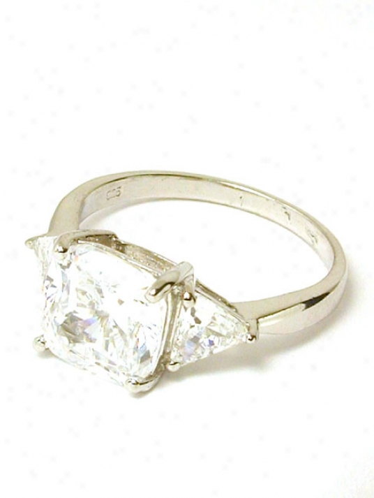 Cushion & Trilliant Cubic Zirconia Cz Engagement Ring