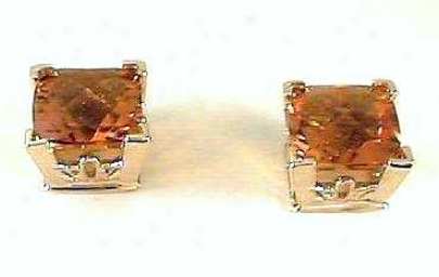 Cushion-cut Citrine Earrings