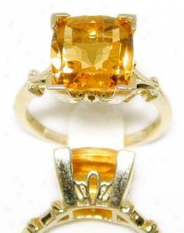 Cushkon-cut Citrine Solitaire Ring