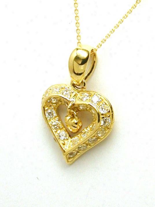 Dangling Twice Heart Cubic Zirconia Cz Pendant