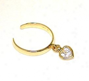 Dangling Heart Cubic Zirconia Cz Adjustable Toe Ring
