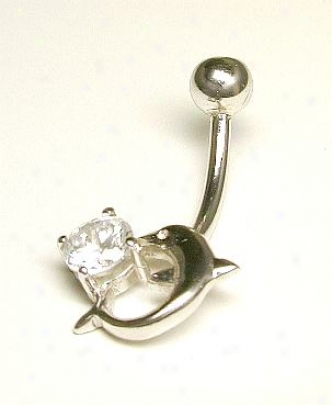 Dolphin Cubic Zirconia Cz Belly Ring