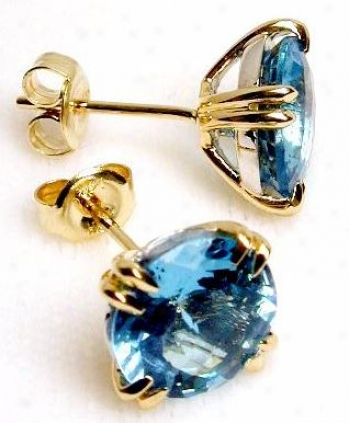 Double Prong Two-tone Blue Topaz Earrings