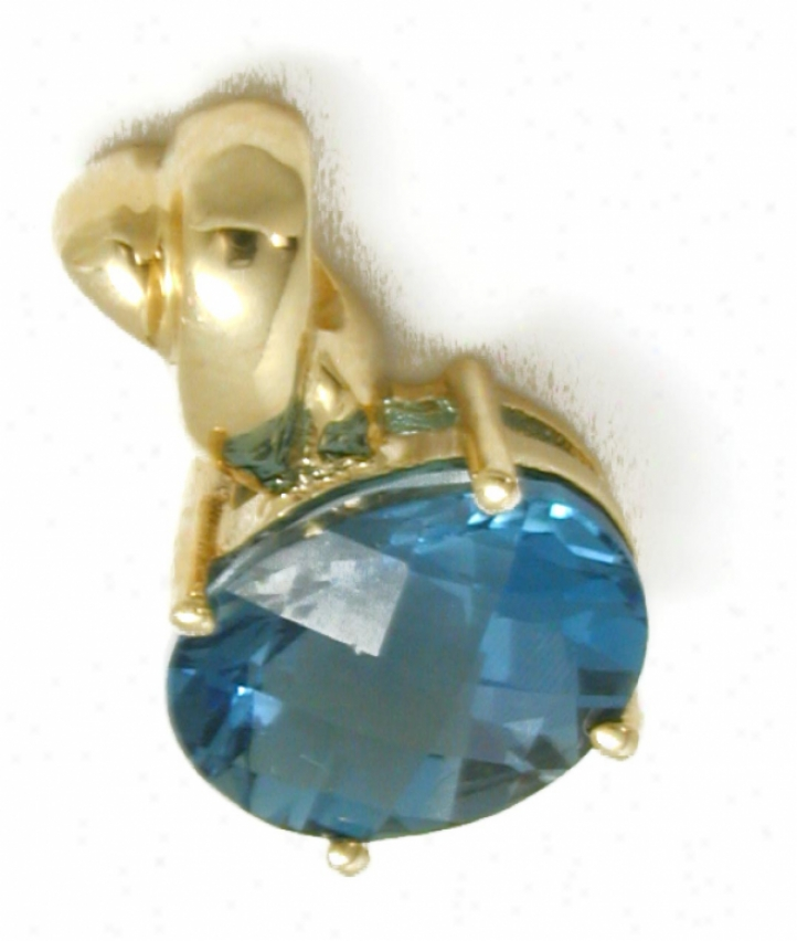 East/west Oval London Blue Topaz Pendant