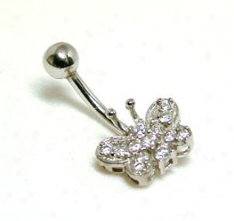 Elegant Cubic Zirconia Cz Butterfly Belly Ring