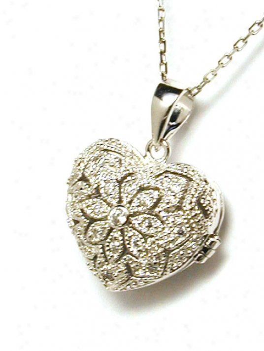Elegant Cuvic Zirconia Cz Heart Locket Pendant