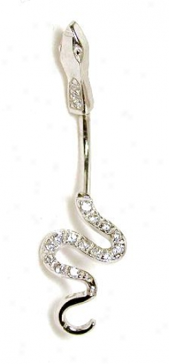 Elegant Cubic Zirconia Cz Snake Belly Ring