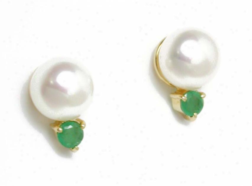 Elegant Freshwater Pearl & Genuine Round Emerlad Earrings