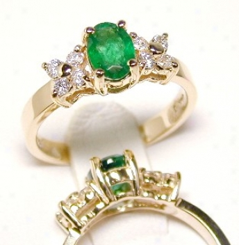 Eleant Oval Emerald & Diamond Ring