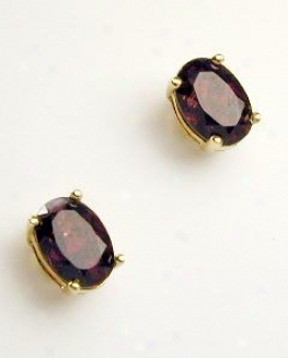 Polished Oval Garnet Stud Earrings