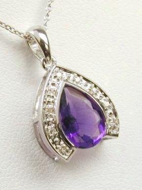 Elegant Pear Amethyst & Diamond Pendant