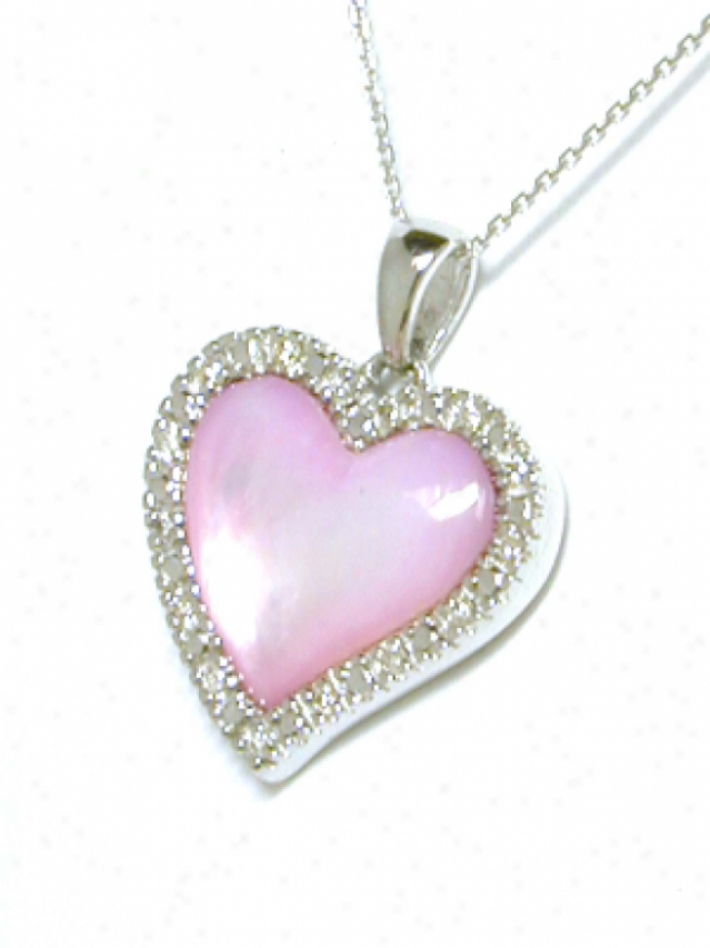 Elegant Pink Mother Of Pearl & Diamond Hrart Shaped Pendant
