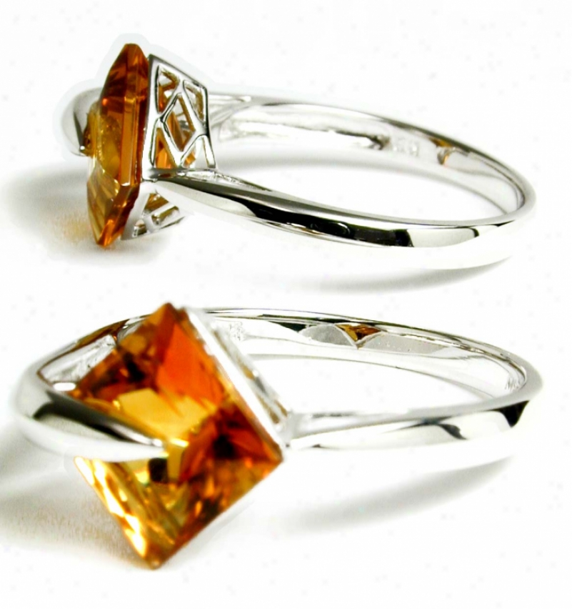 Elegant Princess Citrine Modern Ring