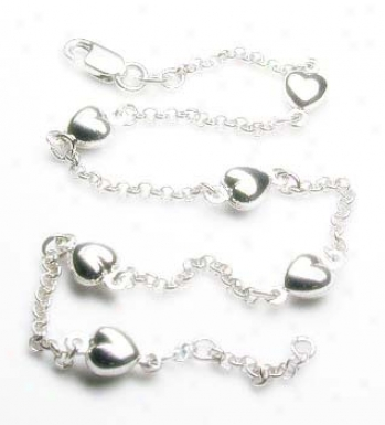 Elegant Rolo With Heart Station Anklet