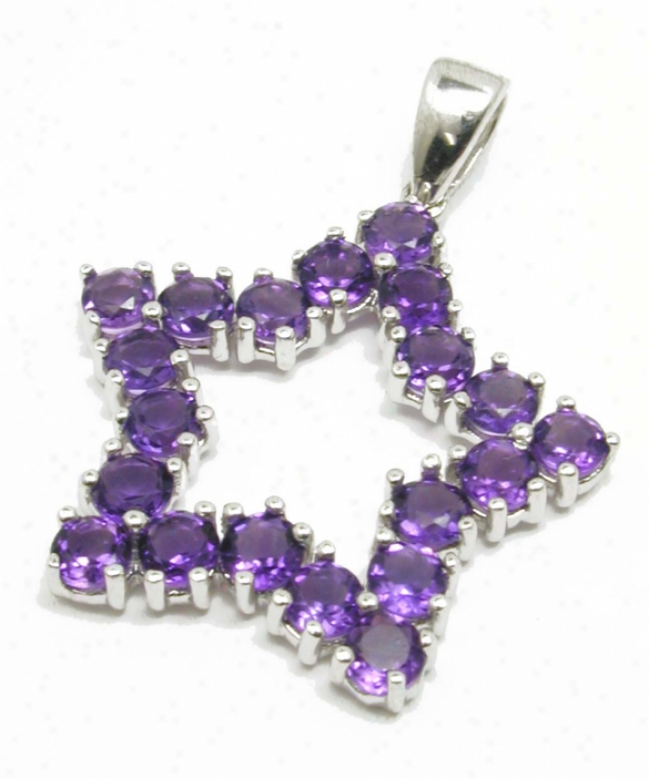 Graceful Round Amethyst Star Pendant