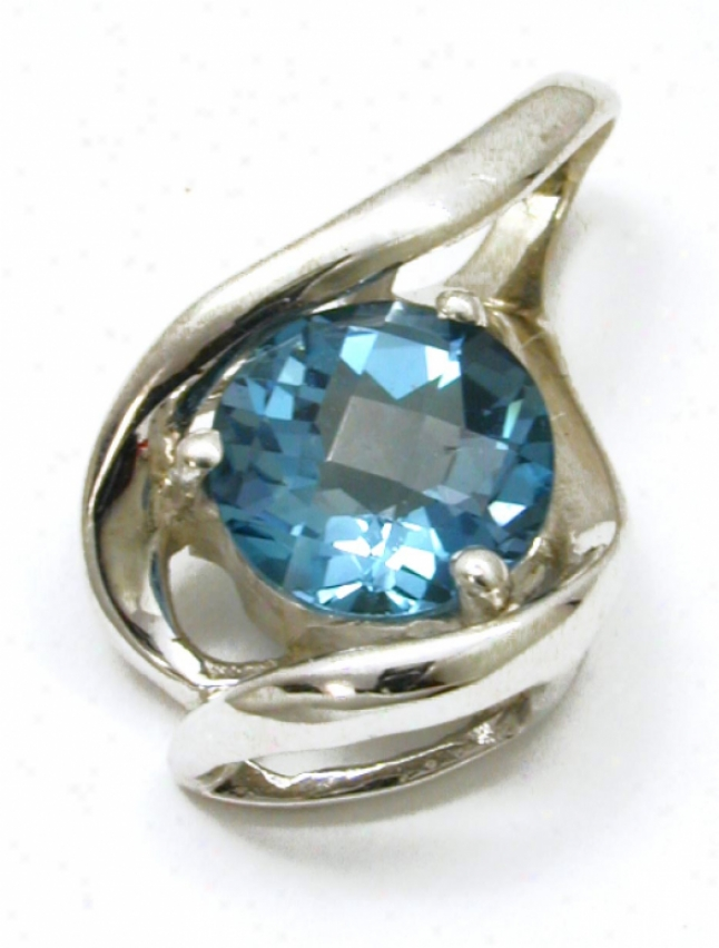 Elegant Round London Blue Topaz Slide Pendant