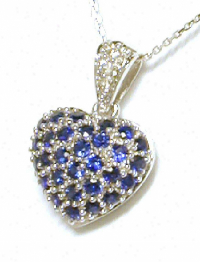 Elegant Round Sapphire &zmp; Diamond Heart Shaped Pendant