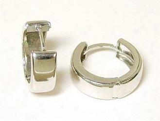 Polished Solid White Hinged Hoops