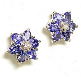 Elegant Tanzanite & Diamond Flower Ears