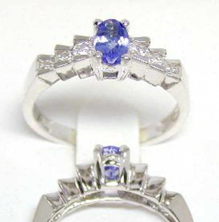 Elegant Tanzanite & Diamond Step Ring