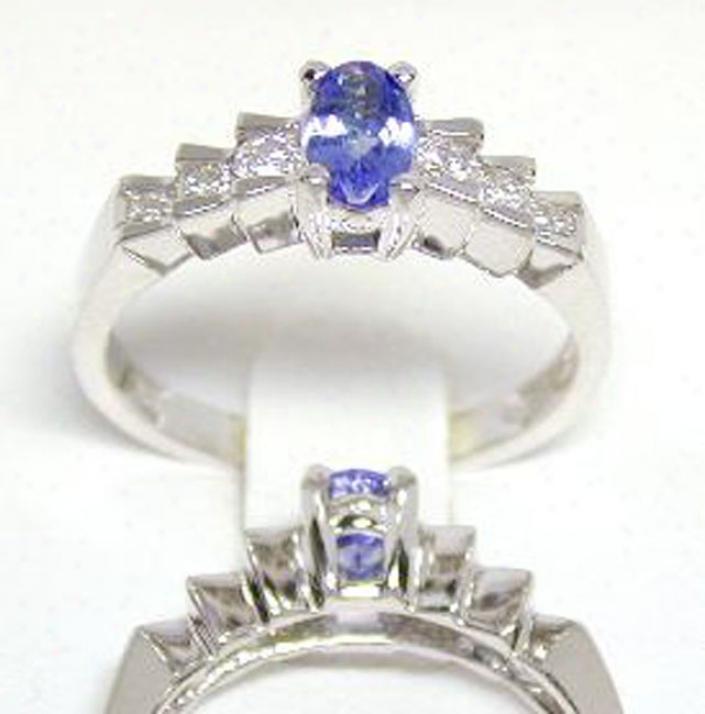 Elegant Tanzanite & Diamond Step Ring