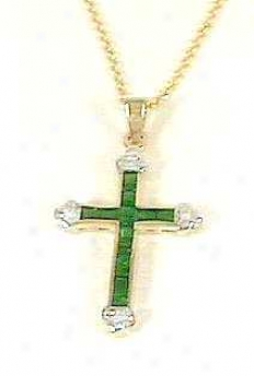 Emerald & Diamond Cross Pendant