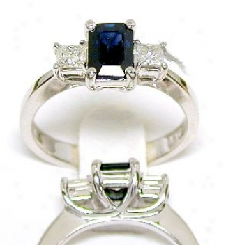 Emerald-cut Sapphire & Princess Diamond Ring