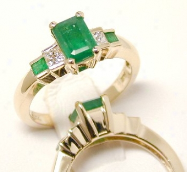 Emerald-cutgenuine Columbian Emerald & Princess Diamond Ring