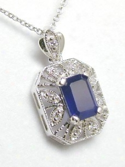 Emeral dSapphire & Diamond Antique Pend.