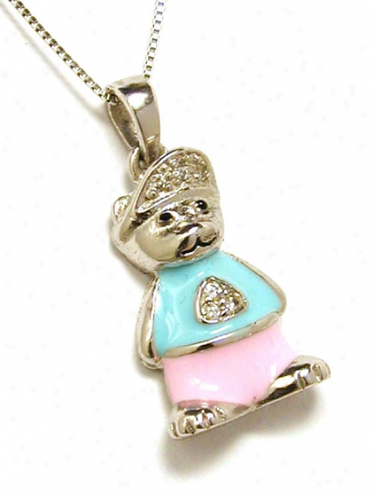Enamel Blue, Pink And Cubic Zirconia Teddy Bear Charm Pendan
